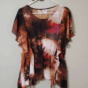 Sheer, flowy blouse w/ gorgeous color tree pattern